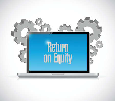 equity: return on equity tech computer sign concept illustration design over a white background