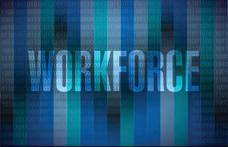 staffing: workforce binary sign concept illustration design over a blue background