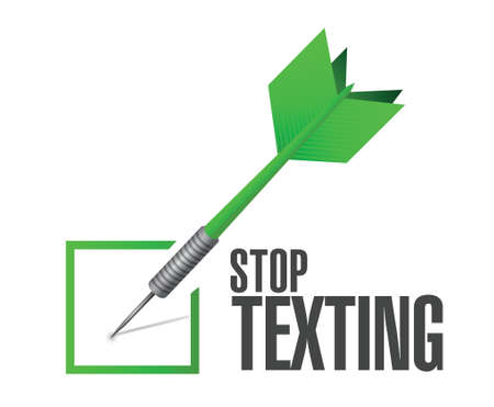 texting: stop texting check sign concept illustration design over white