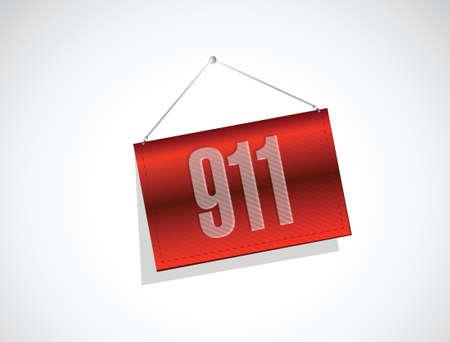 response: 911 banner sign concept illustration design over white