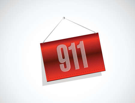 911 banner sign concept illustration design over white