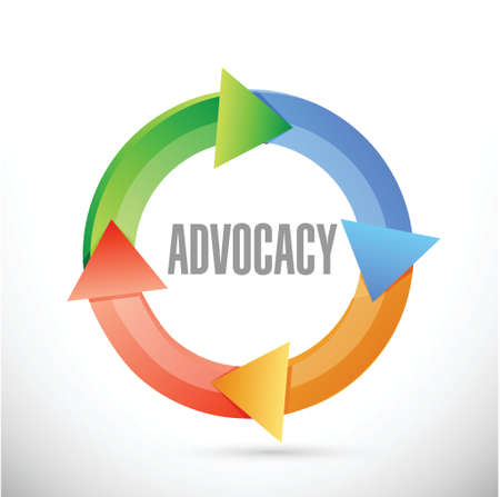advocacy cycle sign concept illustration design over white 일러스트