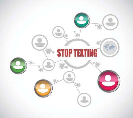 avoidance: stop texting people diagram sign concept illustration design over white Illustration
