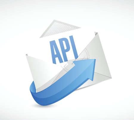 api: Api mail sign concept illustration design over white