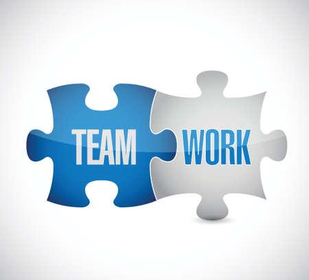 チームワークのパズルのピースは白でイラスト デザインを署名します。