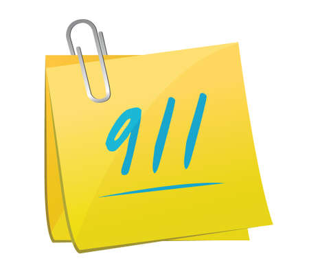 911 memo sign concept illustration design over white Illustration