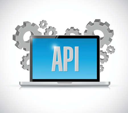 Api technology computer sign concept illustration design over white