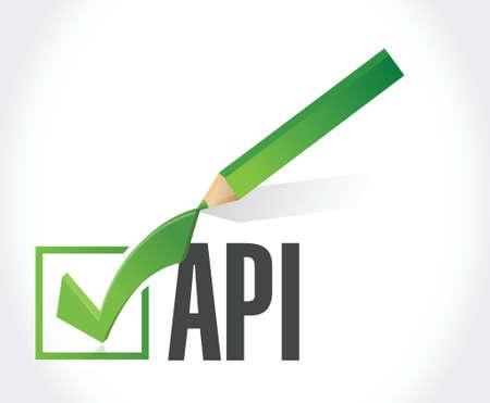 Api check mark sign concept illustration design over white