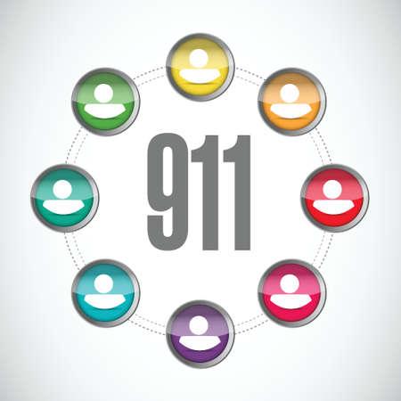 tel: 911 community sign concept illustration design over white Illustration