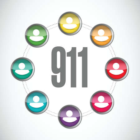 911 community sign concept illustration design over white Illustration