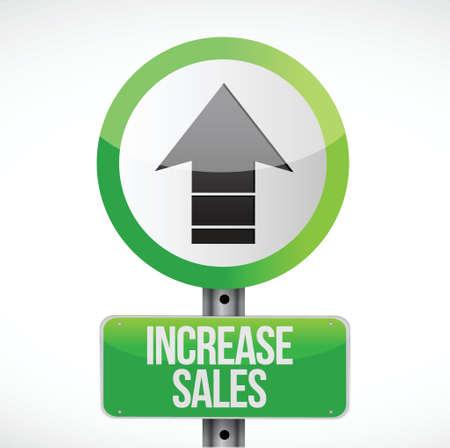 increase sales: increase sales road sign concept illustration design over white