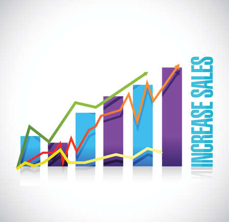 increase sales: increase sales business graph sign concept illustration design over white