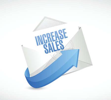 increase sales: increase sales mail sign concept illustration design over white Illustration