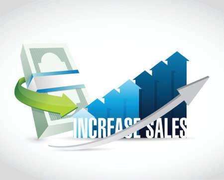 increase sales: Increase sales money graph sign concept illustration design over white