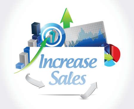 business sign: increase sales business sign concept illustration design over white