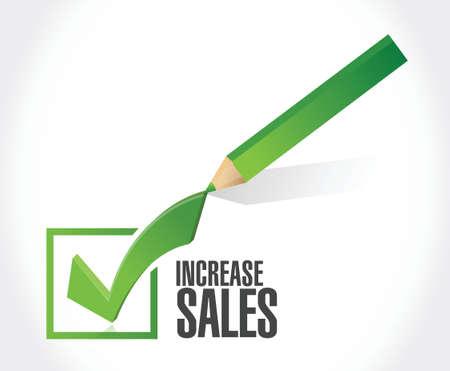 increase sales: increase sales check mark sign concept illustration design over white