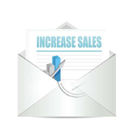 increase sales: increase sales business letter sign concept illustration design over white