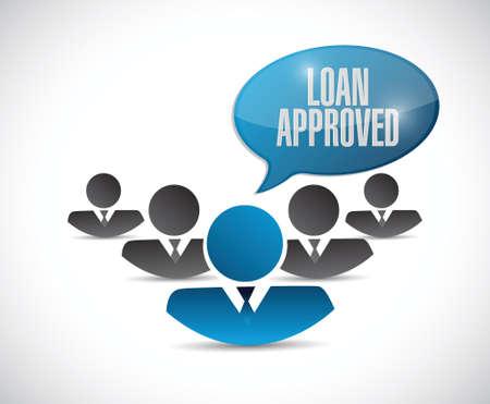 borrowing: loan approved teamwork sign concept illustration design over white