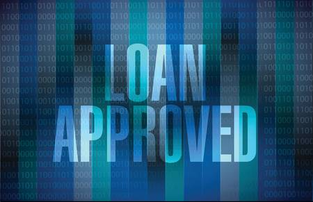 borrower: loan approved binary sign concept illustration design over blue