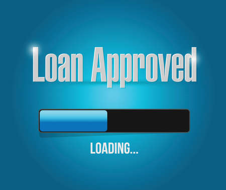 borrower: loan approved loading bar sign concept illustration design over blue