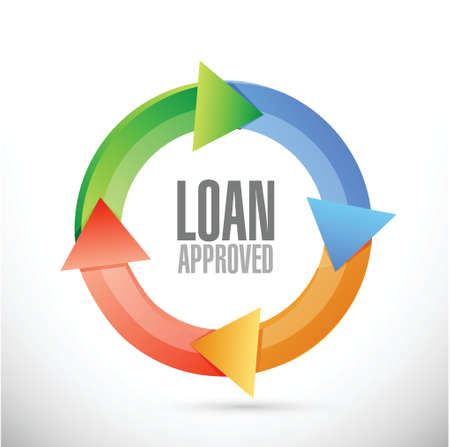 borrower: loan approved cycle sign concept illustration design over white