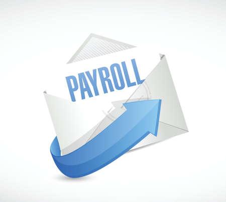 payroll concept illustratie mail ondertekenen ontwerp op een witte