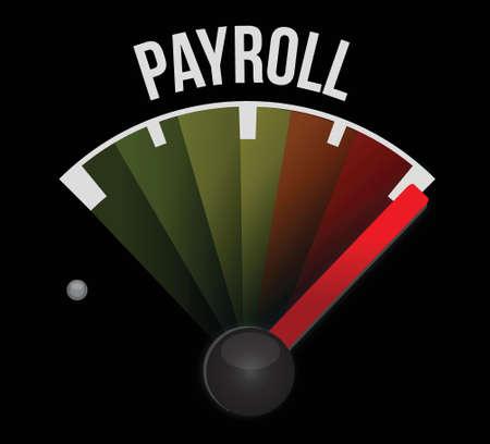 payroll speedometer sign concept illustration design over black Illustration