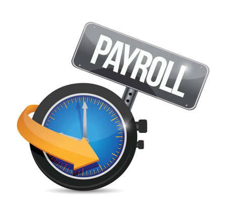 wages: payroll time sign concept illustration design over white