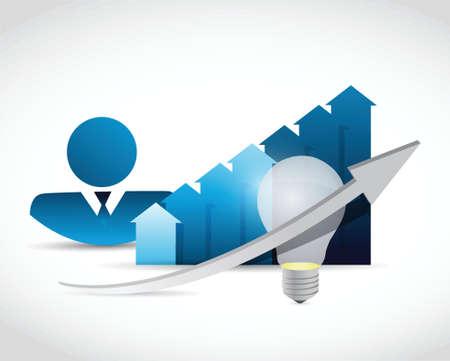interrupt: avatar business graph and light bulb illustration design over white Illustration