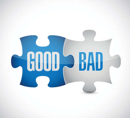 good bad: good and bad puzzle pieces sign illustration design over white Illustration