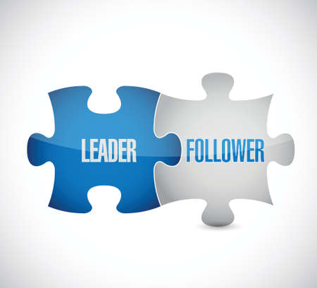leader and follower puzzle pieces sign illustration design over white 일러스트