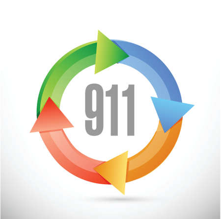 changing colors: 911 cycle sign concept illustration design over white