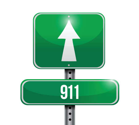 911 road sign concept illustration design over white
