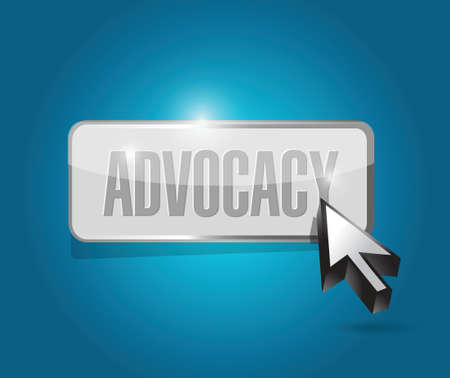 justification: advocacy button sign concept illustration design over blue