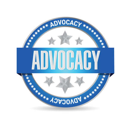 advocacy: advocacy seal sign concept illustration design over white Illustration