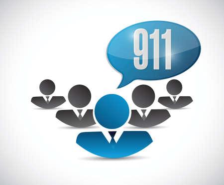 dialing: 911 support team sign concept illustration design over white