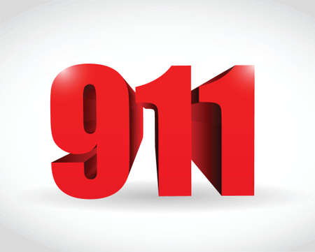 911 text sign concept illustration design over white