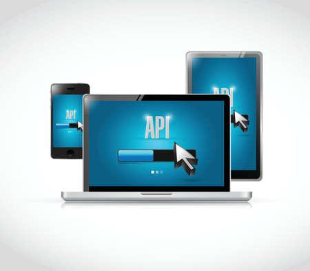 api: Api technology updates sign concept illustration design over white