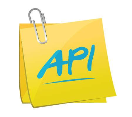 api: Api memo post sign concept illustration design over white Illustration