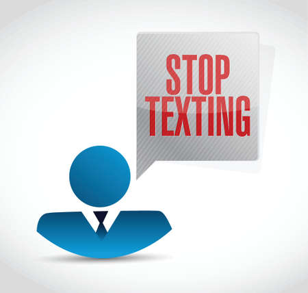 texting: stop texting avatar sign concept illustration design over white