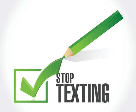 check mark sign: stop texting check mark sign concept illustration design over white
