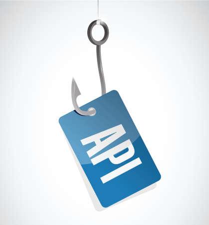 api: Api hook tag sign concept illustration design over white