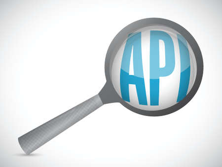 Api magnify glass sign concept illustration design over white 向量圖像