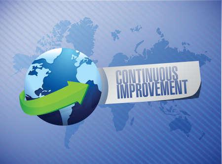continuous improvement international sign concept illustration design over blue background