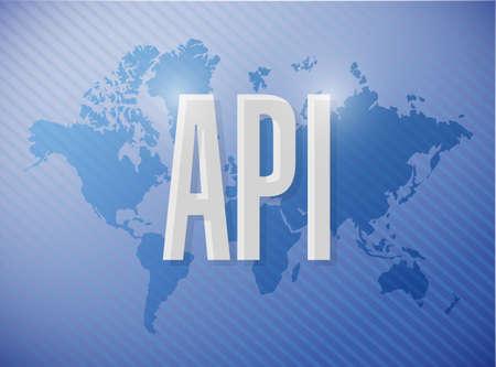 compiler: Api world sign concept illustration design over blue