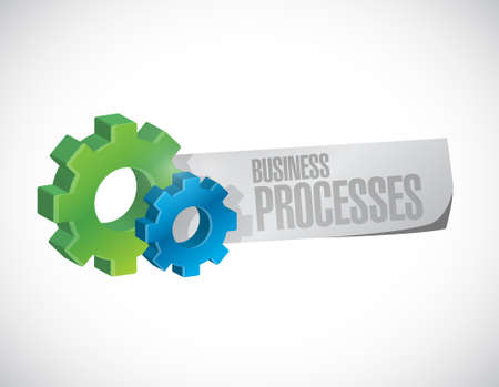 structured: business processes gear paper sign concept illustration design over white