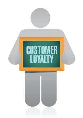 keywords bubble: customer loyalty people board sign concept illustration design over white Illustration