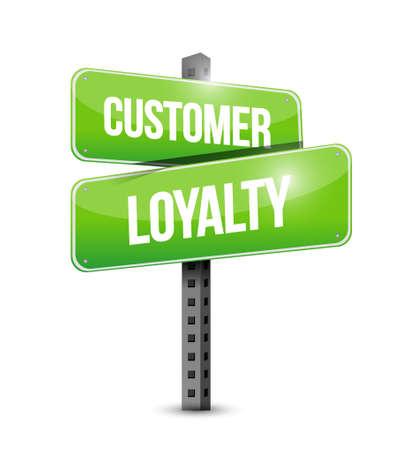keywords bubble: customer loyalty street sign concept illustration design over white