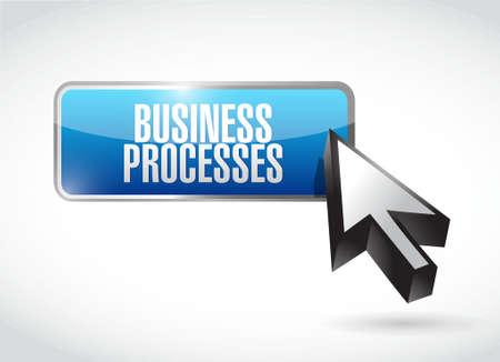 implement: business processes button sign concept illustration design over white