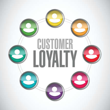 feedback link: customer loyalty people connections sign concept illustration design over white